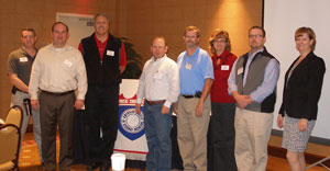 Jan. 10, 2012: James Schleich, Section Treasurer, Jason Pagnard, 1st VP, Tim Muller, Austin Bridge & Road (Speaker), Mark Wheeler, ADOT (Speaker), Jay Guertin, Section President, Jeanne Sapon, Section Sectretary, Mark Chase, AZTEC Engineering (Speaker) and Dawn Fortuna, Section Director
