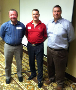 Oct. 9, 2012: LtoR - Jeff Hearne, Speaker; James Schleich, 1st VP; James Benedict, Speaker