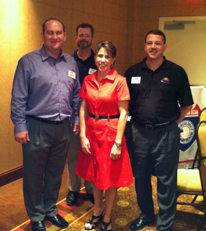 Sept. 11, 2012: Jason Pagnard, President; Jay Guertin, Past President, Jennifer Toth (Speaker), James Schleich, 1st VP