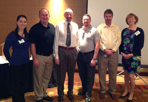Jan. 8, 2013: L to R - Yung Koprowski, P.E., Section Director; Jason Pagnard P.E., Section President; Rick Ellis P.E., Speaker; James Schleich P.E., 1st VP; Mark Stark, P.E., 2nd VP and Dawn Fortuna, Section Director